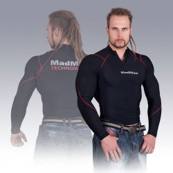 MADMAX Compression Long Sleeve Top with zip Red hosszú ujjú felső cipzárral